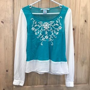 Delicate embroidered design w/ sheer blouse sleeve